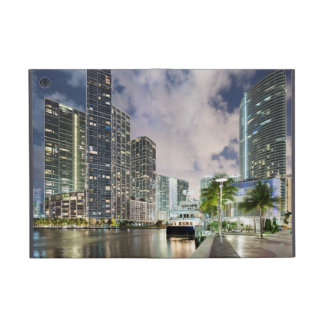 Illuminated towers at the Miami River waterfront Cover For iPad Mini