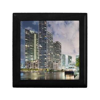 Illuminated towers at the Miami River waterfront Gift Box