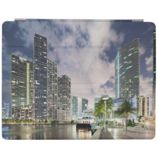 Illuminated towers at the Miami River waterfront iPad Cover
