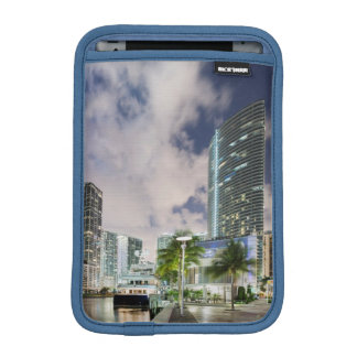Illuminated towers at the Miami River waterfront iPad Mini Sleeves