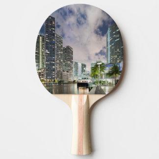 Illuminated towers at the Miami River waterfront Ping Pong Paddle