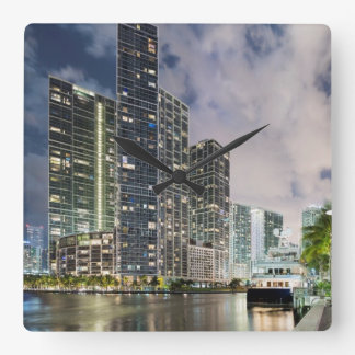 Illuminated towers at the Miami River waterfront Square Wall Clock