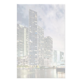 Illuminated towers at the Miami River waterfront Stationery