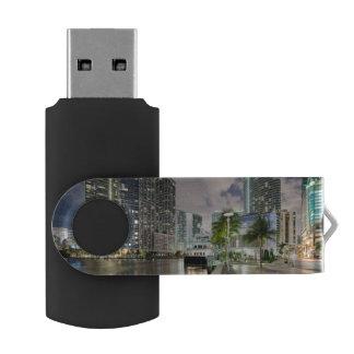 Illuminated towers at the Miami River waterfront USB Flash Drive
