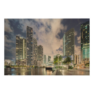 Illuminated towers at the Miami River waterfront Wood Wall Decor