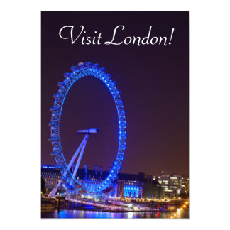Illuminated wheel London Eye at night Card
