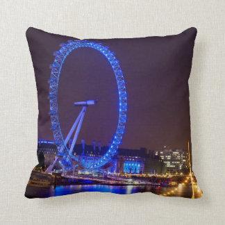 Illuminated wheel London Eye at night Throw Pillow