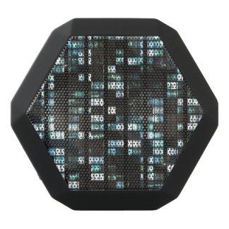 Illuminated windows pattern black bluetooth speaker