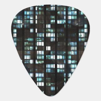Illuminated windows pattern guitar pick