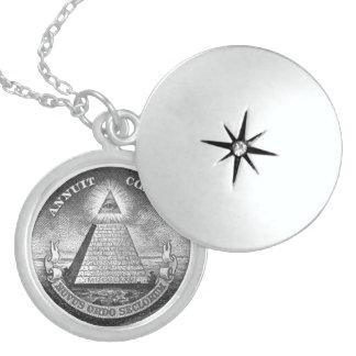 Illuminati All Seeing Eye Round Locket Necklace