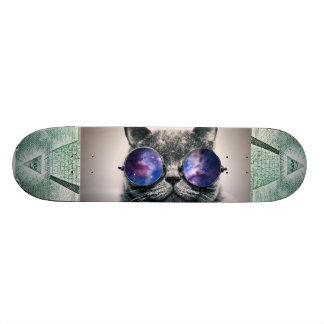 illuminati and galaxy cat skateboard deck
