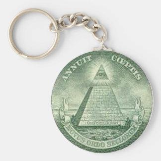 illuminati basic round button key ring