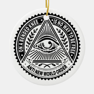 Illuminati - On A Bended Knee Is No Way To Be Free Round Ceramic Decoration