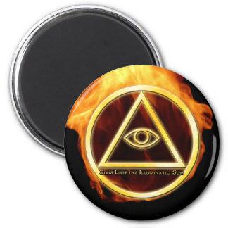 Illuminati on Fire 6 Cm Round Magnet