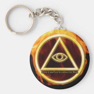 Illuminati on Fire Basic Round Button Key Ring