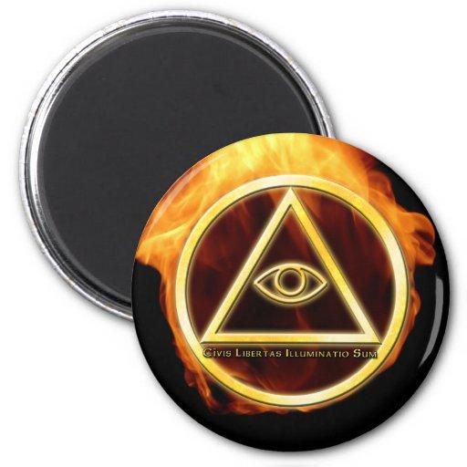 Illuminati on Fire Magnet