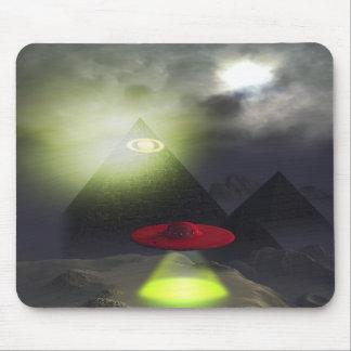 Illuminati Pyramid and UFO Mousepad