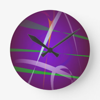 Illuminating Blue Purple Abstract Art Round Clock