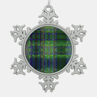 Illumination  Blue/Green Design Snowflake Pewter Christmas Ornament