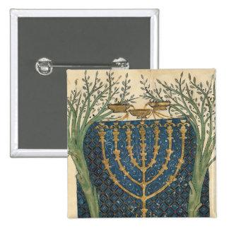 Illumination of a menorah, from 15 cm square badge