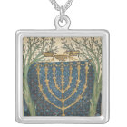 Illumination of a menorah, from silver plated necklace