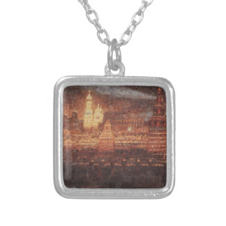 Illumination of Moscow by Vasily Surikov Square Pendant Necklace