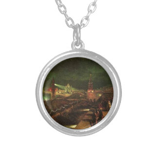 Illumination of Moscow on the occasion Round Pendant Necklace
