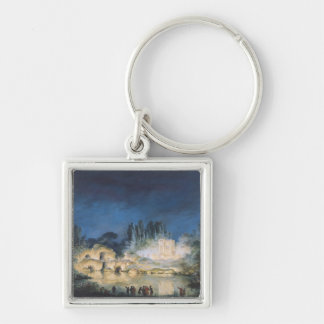 Illumination of the Belvedere at the Silver-Colored Square Key Ring