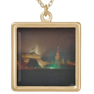 Illumination of the Kremlin, 1883 (oil on canvas) Square Pendant Necklace