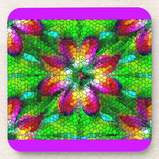 Illusion of Stained Glass Mosaic Design Beverage Coasters