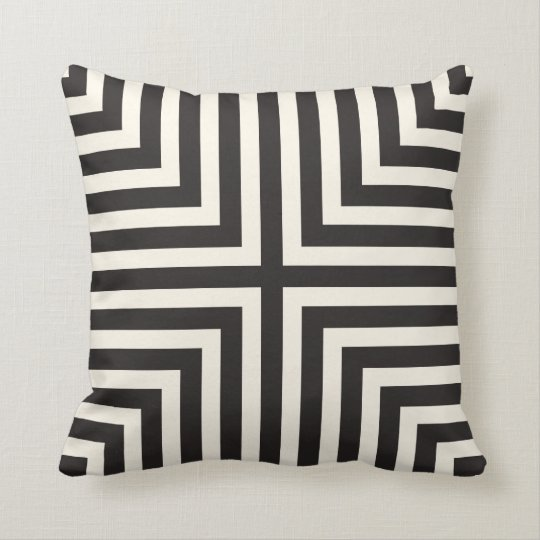 Illusion Stripes T Pattern in Black and Cream Cushion