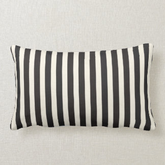 Illusion Stripes Vertical Pattern Black and Cream Lumbar Cushion