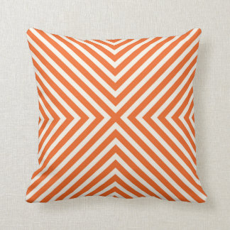 Illusion X Pattern Stripes in Orange and Cream Cushion