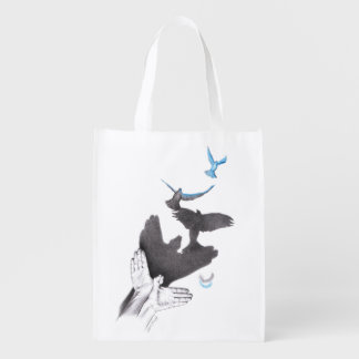 Illusions hand shadow birds Reusable grocery bag