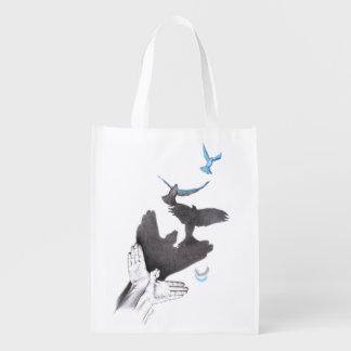 Illusions hand shadow birds Reusable grocery bag