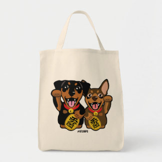 Illustrated 2 Lucky Min Pin Dogs Tote Bag