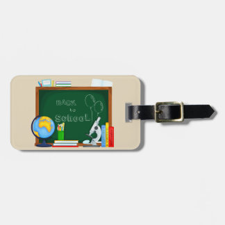 Illustrated back to school chalk board luggage tag
