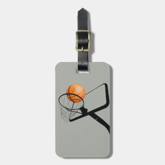 Illustrated Basketball and hoop Luggage Tag