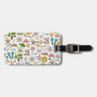 Illustrated beach and nautical patterns luggage tag