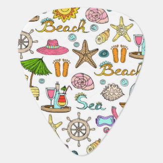 Illustrated beach and nautical patterns plectrum