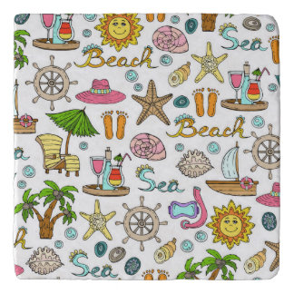 Illustrated beach and nautical patterns trivet