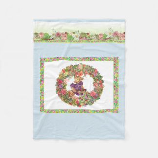 Illustrated Bear Bearing Florals Fleece Blanket