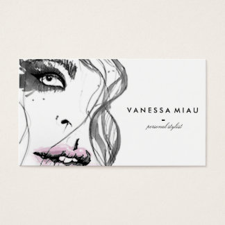 Illustrated black and white business card