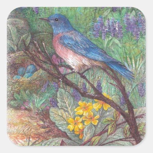 illustrated bluebird spring wedding gifts sticker