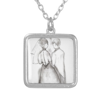Illustrated Bride and Groom Silver Plated Necklace