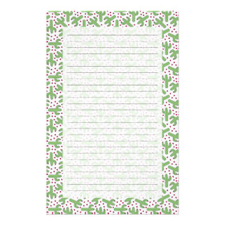 Illustrated Cactus & Pink Flowers Pattern Stationery