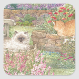 illustrated cats in garden square sticker