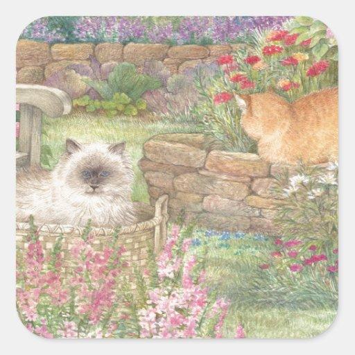 illustrated cats in garden sticker