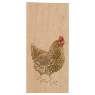 Illustrated Chicken Wooden USB Wood USB 2.0 Flash Drive