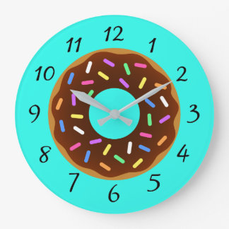 Illustrated Colorful Donut Large Clock